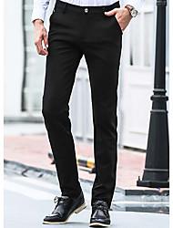 Masculino Solto Chinos Calças-Cor Única Casual Simples Jacquard Cintura Média Zíper Algodão Micro-Elástico Outono / Inverno