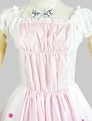 Uma-Peça/Vestidos Doce Princesa Cosplay Vestidos Lolita Branco Estampado Manga Curta Longuete Vestido Para Feminino Algodão