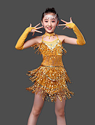 Latin Dance Dresses Children's Performance Milk Fiber Crystals/Rhinestones / Paillettes 4 Pieces Sleeveless High Gloves / Dress / Neckwear