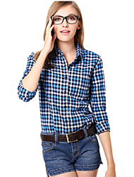 U&Shark New Hot! Women's  British Style Leisure Sanding Plaid Lady Long Sleeve Shirt with Blue Black White Checks