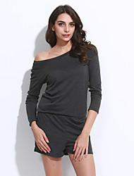Women's Solid Blue / Gray Jumpsuits,Vintage Off Shoulder Long Sleeve