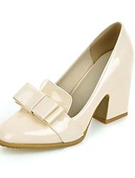 Feminino-Saltos-Sapatos com Bolsa Combinando-Salto Grosso-Preto Bege Vinho-Courino-Escritório & Trabalho Social Casual