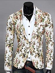 Blazer Hommes,Imprimé Décontracté / Quotidien Travail Habillées Manches Longues Coton Polyester