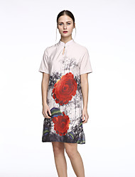 Women's Vintage Floral Loose / Shift Dress,Crew Neck Above Knee Silk
