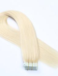 fita no cabelo humano extensão # 60 platium 20pcs cor loiro remy extensões virgens brasileiras do cabelo de trama da pele em linha reta