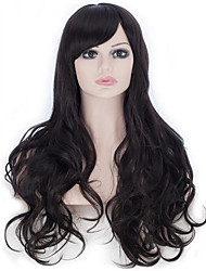 25 Inches Cosplay Wigs Women's Natural Long Wavy Black Hair Wig Oblique Bangs Style