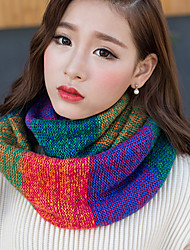 Women Winter Mosaic Color Multicolored Rainbow Wool Knit Scarf Thickening Warm Neckerchief