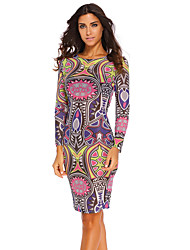 Women's Boho Tribal Print Multi Colour Pencil Dress