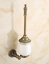 Antique Brass Wall Mounted Brass Material Toilet Brush Holder