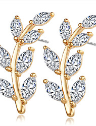 High Quality AAA Cubic Zirconia  Leaf Stud Earrings Jewelry Women Wedding Gold Silver Cubic Zirconia 1 pair