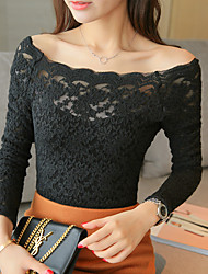 Lace shirt bottoming shirt 16 new winter Korean Slim female long-sleeved knit collar Lace Top