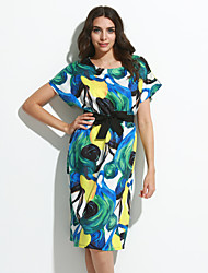 Women's Casual/Daily Simple / Cute Sheath Dress,Print Round Neck Knee-length Short Sleeve Green Polyester