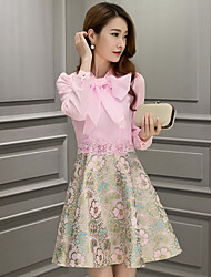Chiffon dress 2017 spring new long-sleeved pink bow sweet lady temperament skirt