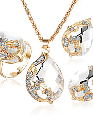 Jewelry 1 Necklace 1 Pair of Earrings Rings 1 Package Diamond Sapphire Emerald Crystal Wedding Party Crystal Alloy Rhinestone Gold Plated
