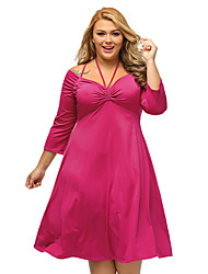 Women's Enticing Tie Off-shoulder Plus Size Midi Dress