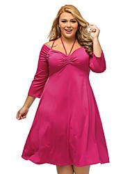 Trapèze Robe Femme Grandes Tailles Sexy,Couleur Pleine Mi-long Rouge / Vert Polyester / Spandex Automne Taille Haute Elastique Fin