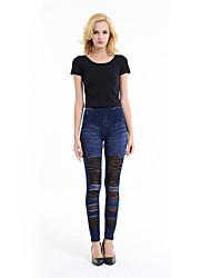 Feminino Delgado Jeans Chinos Calças-Listrado Casual Simples rasgado Cintura Média Zíper Botão Elasticidade Others Com ElásticoCom Molas