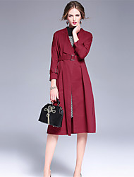 OULIE Women's Work Simple Trench CoatSolid Shirt Collar  Sleeve Spring / Fall Red / Gray Cotton Medium