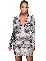 Women's Black White Graphic Print Long Sleeves Dress