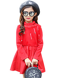Girl's Casual/Daily Formal Patchwork Dress,PU Spring Fall Long Sleeve