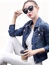 Feminino Jaqueta jeans Casual Para Noite Moda de Rua Primavera Outono,Sólido Curto Poliéster Colarinho de Camisa Manga Longa Taxas