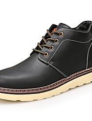 Men's Boots Comfort PU Fall Winter Casual Flat Heel Black Dark Brown Khaki Flat