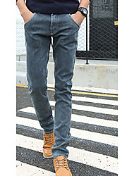 Hommes Slim Jeans Pantalon,simple Décontracté / Quotidien Couleur Pleine Taille Normale fermeture Éclair Coton Micro-élastique Hiver