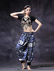 Dança do Ventre Fundos Mulheres Treino Náilon Chinês / Cetim Padrão/Estampado 1 Peça Caído Calças pants length:105cm(41.34in)