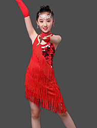 Latin Dance Dresses Children's Performance Milk Fiber Crystals/Rhinestones Sequins Tassel(s) 4 Pieces Sleeveless HighDress Gloves