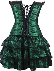 Burvogue Women's Sexy Flower Gothic Burlesque Evening Overbust Corset with Skirt and G-string