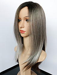 Synthetic Ombre Grey Wig Long Straight Wig African American Wig Heat Resistant Hair Cheap Cosplay Wig