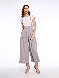 Women Loose Long Culottes Wide Leg Trousers High Waist Pockets Strap Pants