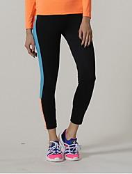 calças de yoga Meia-calça Elástico Natural Com Elástico Moda Esportiva Preto Mulheres Ioga