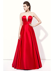 Floor-length Stretch Satin Sexy Bridesmaid Dress - A-line Strapless with Draping