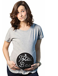 Maternity Casual/Daily Simple Summer Fall T-shirt,Solid Round Neck Short Sleeve Gray Cotton