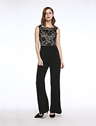 Women's Wide Leg/Lace Lace Backless Jumpsuit
