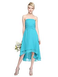 2017 Lanting Bride® Asymmetrical Chiffon Open Back Bridesmaid Dress - A-line Strapless with Criss Cross Pleats