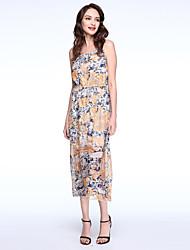 Women's Boho Print Swing Dress,Round Neck Maxi Polyester