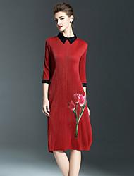 SHYSLILY Women's Casual/Daily Vintage Sheath DressFloral Shirt Collar Midi  Sleeve Red Polyester Fall Mid Rise Stretchy Medium