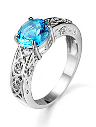 Luxury Brand Round Finger Rings Sapphire Jewelry Ring Platinum Plated Channel Setting Wedding Ring for Women