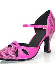 Customizable Women's Dance Shoes Sparkling Glitter Paillette Sparkling Glitter Paillette Latin Sandals Flared HeelPractice Beginner