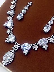 Women's Jewelry Set Luxury Zircon Cubic Zirconia Necklaces Earrings For Party Wedding Gifts