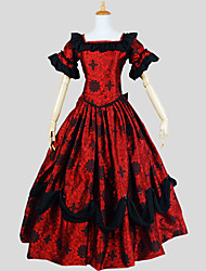 Outfits Gothic Lolita Victorian Cosplay Lolita Dress Red Paisley Short Sleeve Ankle-length Top / Skirt / Petticoat For Women Silk / Satin