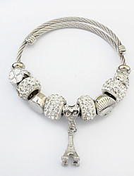 Women Bead Tower Charm Bracelet Alloy Fashion Casual Jewelry Gift Silver