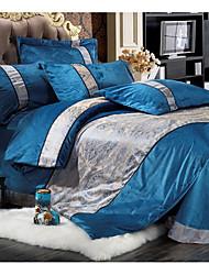 Novelty Duvet Cover Sets 4 Piece Cotton Contemporary Reactive Print Cotton Full 1pc Duvet Cover 2pcs Shams 1pc Flat Sheet