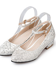 Women's Heels Spring Summer Fall Glitter Wedding Casual Party & Evening Low Heel Sequin Buckle Flower Red White