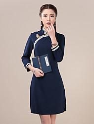 signer au printemps 2016 robe cheongsam théâtrale quotidienne robe de cheongsam tricot vent national rétro douce