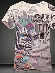Tee-shirt Hommes,Géométrique Décontracté / Quotidien Bohème Eté Manches Courtes Col en V Multi-couleur Coton