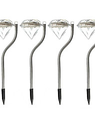 MLSLED Diamond Solar-Power LED Cool White Light Garden Decorative Lawn Lamps Luxury Holiday Decorative Lights IP56 Waterproof Lighting Control (4PCS)