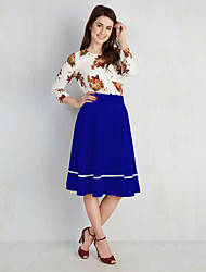 Women's Plus Size / Going out / Casual/Daily Vintage / Street chic Pleated Slim Sheath DressFloral Round Neck Knee-length Long Sleeve